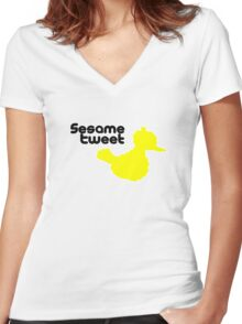 Sesame Tweet - Black Text Women's Fitted V-Neck T-Shirt