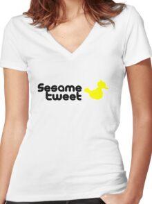 Sesame Tweet - Black Text V.2 Women's Fitted V-Neck T-Shirt