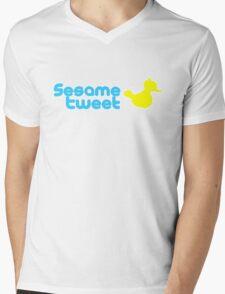 Sesame Tweet - Blue Text V.2 Mens V-Neck T-Shirt