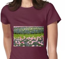 Pink Foxtrot tulips with blue flowers Womens Fitted T-Shirt