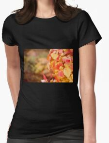 Autumn red yellow vine foliage Womens Fitted T-Shirt