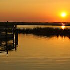 Orange Sunset Over Bay with Pier, New Jersey by Rebecca  Haegele