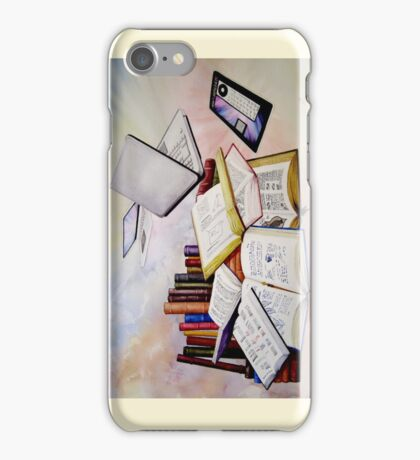 Then and Now Watercolour Painting iPhone Case/Skin