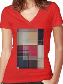 Lines/Abstract Q1 Women's Fitted V-Neck T-Shirt