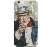 """""""I Want You""""-Uncle Sam,U.S.Army, Vintage Dictionary Art iPhone Case/Skin"""