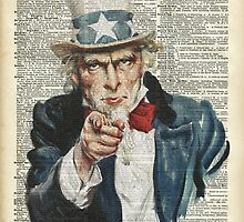 """""""I Want You""""-Uncle Sam,U.S.Army, Vintage Dictionary Art by DictionaryArt"""