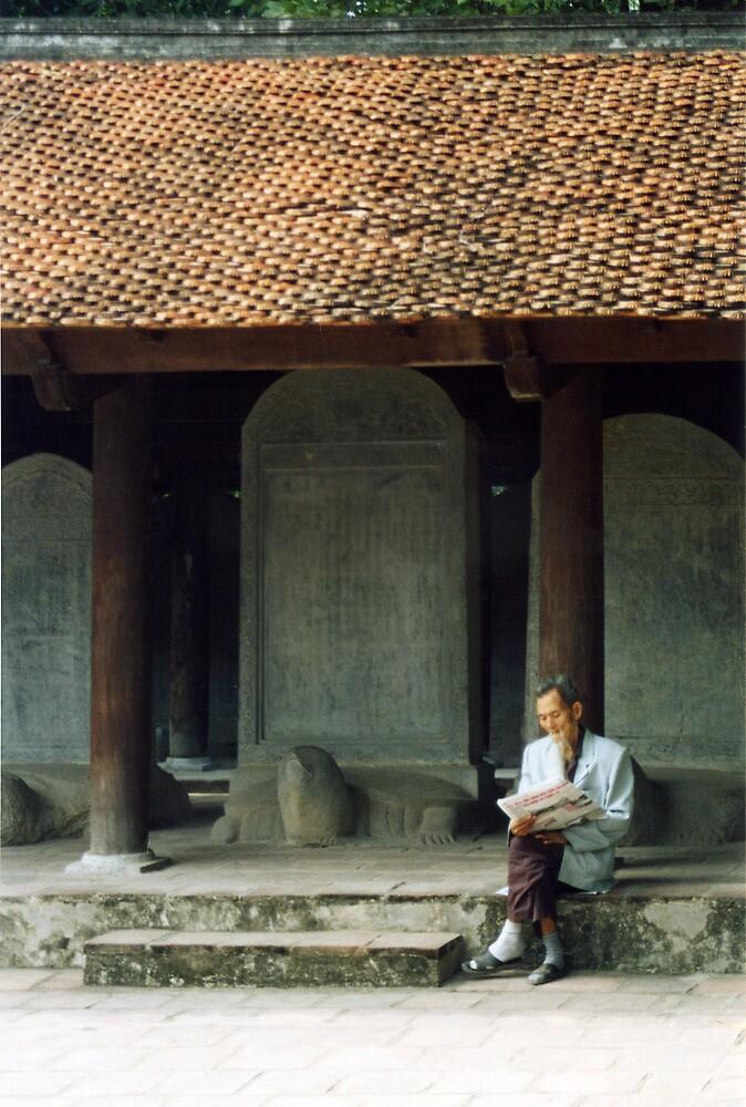 Scholarly Man, Temple of Literature, Hanoi, Vietnam by Jane McDougall