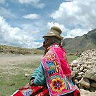 elderly woman in traditional peruvian clothing by Valentina Silva