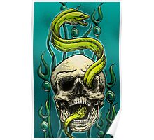 Old School Tattoo Skull and Moray Poster