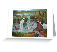 Egrets Courting Greeting Card