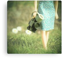 camera in one hand & coffee in the other ................. Canvas Print