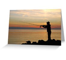 Fisherman at sunset Greeting Card