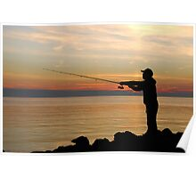 Fisherman at sunset Poster