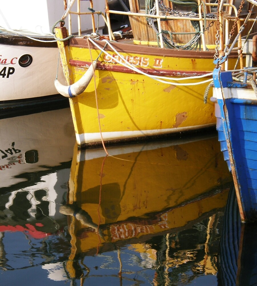 Yellow Boat Reflection by mikequigley