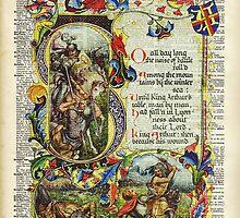 Dictionary Art - King Artur Story book,Decorative Manuscript by DictionaryArt