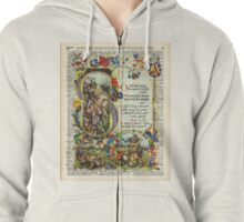 Dictionary Art - King Artur Story book,Decorative Manuscript Zipped Hoodie