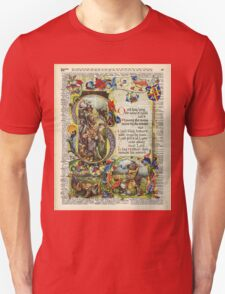 Dictionary Art - King Artur Story book,Decorative Manuscript T-Shirt