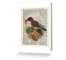 Kingfisher bird with a lizard,wild bird illustration Over a Old Dictionary Greeting Card