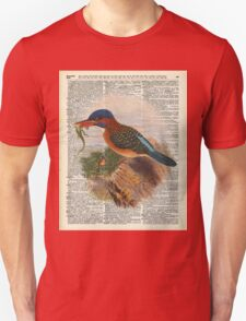 Kingfisher bird with a lizard,wild bird illustration Over a Old Dictionary T-Shirt