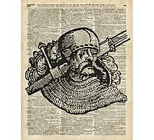 Medieval Knight illustration Over Old Encyclopedia Page Photographic Print