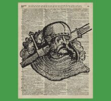 Medieval Knight illustration Over Old Encyclopedia Page Kids Clothes