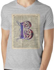 Letter B Monogram Mens V-Neck T-Shirt