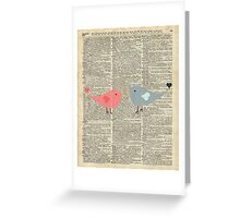 Little Birds Love Over Old Dictionary Page Greeting Card