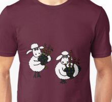 Funky Sheep Playing the Bagpipes Unisex T-Shirt