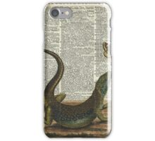 Lizard catching a moth,Vintage Illustration of Reptile. iPhone Case/Skin
