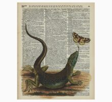 Lizard catching a moth,Vintage Illustration of Reptile. One Piece - Short Sleeve