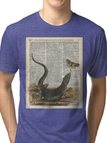 Lizard catching a moth,Vintage Illustration of Reptile. Tri-blend T-Shirt