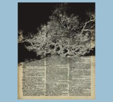 White And Bloack Lonley Tree Dictionary Art Baby Tee