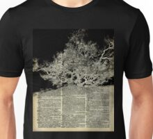 White And Bloack Lonley Tree Dictionary Art Unisex T-Shirt