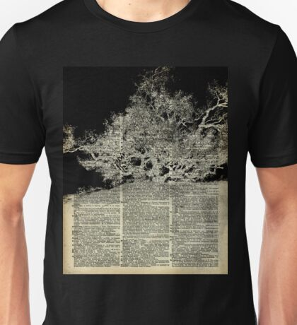 White And Bloack Lonley Tree Dictionary Art Unisex T-Shirt