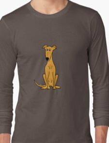 Cute Sitting Fawn Greyhound Racing Dog Long Sleeve T-Shirt