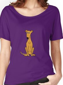 Cute Sitting Fawn Greyhound Racing Dog Women's Relaxed Fit T-Shirt