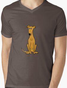 Cute Sitting Fawn Greyhound Racing Dog Mens V-Neck T-Shirt