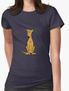 Cute Sitting Fawn Greyhound Racing Dog Womens Fitted T-Shirt