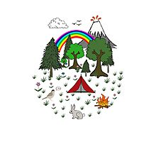 Camping Diorama Stickers Photographic Print