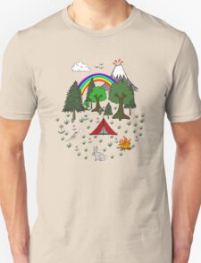 Camping Diorama Stickers T-Shirt
