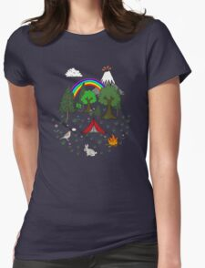 Camping Diorama Stickers Womens Fitted T-Shirt