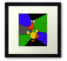 Funky Colorful Dancing Duck Abstract Framed Print