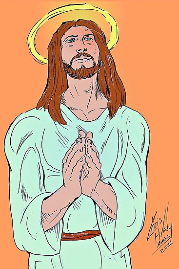 Jesus praying with God about cancer. by chrishlady