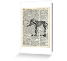 Mammoth Elephant Bones.Skeleton over a Antique Dictionary Book page Greeting Card