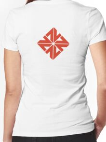 Red Abstract Women's Fitted V-Neck T-Shirt