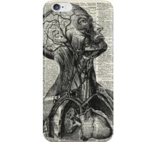 Medical Human Anatomy Illustration Over Old Book Page iPhone Case/Skin