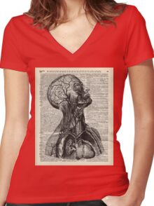 Medical Human Anatomy Illustration Over Old Book Page Women's Fitted V-Neck T-Shirt