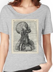 Medical Human Anatomy Illustration Over Old Book Page Women's Relaxed Fit T-Shirt