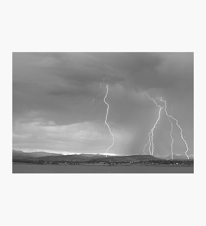 Colorado Rocky Mountains Foothills Lightning Strikes 2 BW Photographic Print