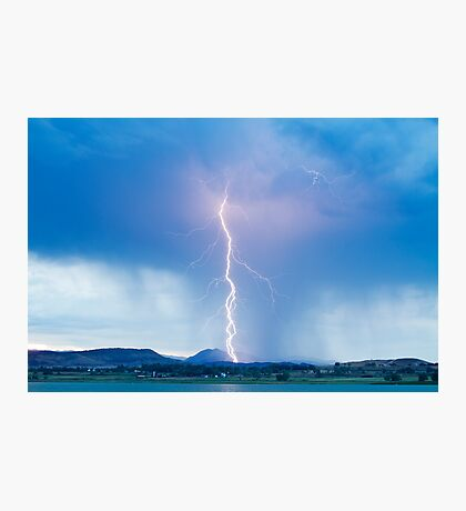 Lightning Twine Striking the Colorado Rocky Mountain Foothills Photographic Print